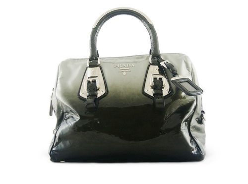 Prada Bowler Shark Grey Green Sfumata Patent Buy, layaway ...