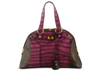 YSL Muse Large Magenta Croco Limited Edition