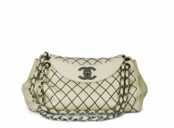 Chanel Gun Metal Classic Flap Medium White