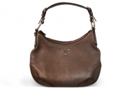 Prada Vitello Daino Hobo Metallic Pewter