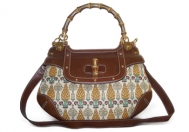 Gucci Pineapple Canvas Bamboo Handle