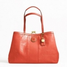 Coach Signature Stripe Stitched Patent Frame Carryall Persimmon