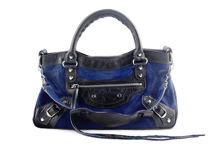 Balenciaga First City Handbag Navy Pony Hair Buy Layaway Rent Borrow Luxury Pre Owned