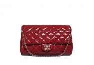 Chanel Timeless Red Patent Clutch Flap Bag