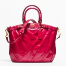 Coach Madison Diagonal Patent Lindsey Satchel Pink Fuschia